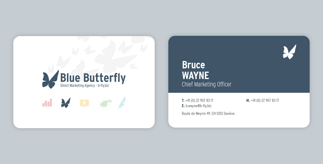 Blue butterfly business cards cdesign cindy djardin multimedia which i reused to add diversity to the visit cards by creating a slightly different version for every department the light grey butterflies represent colourmoves